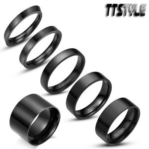 Polished TTstyle Black S.Steel Comfort fit Band Ring Size 5-15 Width 2-14mm NEW
