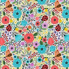 Printed Bow Fabric A4 Canvas Summer Flowers Berries Ladybirds SM5 glitter bows