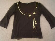 PER UNA SIZE 12 UK = 10 AU BROWN +GOLD SEQUIN EVENING TOP M&S UK