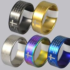 8mm Steel Plated English Lords Prayer Bible Mens Womens Wedding Ring band L to Z