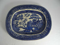 """Staffordshire Stone China WAA England Blue Willow Oval Serving Platter 11 1/4"""""""