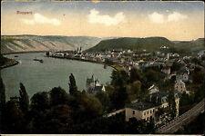 Boppard am Rhein Color AK ~1920/30 Gesamtansicht mit Rhein Schiffe ungelaufen