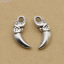 25pcs Tibet silver Elephant sculptured Tooth Charm Pendant beaded Jewelry