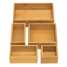 NEW! Seville Classics 5-Piece Bamboo Storage Box Drawer Organizer Set