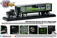 BLACK 1958 CHEVY LCF WITH ET MAGS TRAILER M2 MACHINES 1:64 DIECAST METAL MODEL