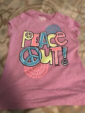 Preowned Justice Girls Purple Peace Out Shirt Sz 8