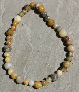"""Genuine Natural Crazy Lace Agate Beaded Stretchy Bracelet - approx.19.5cm (7.5"""")"""