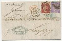 "GB SG 105 pl.6, 43 pl.100 1868 QV 6D+1D LATE FEE Duplex Postmark ""LONDON / 97"""