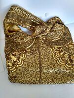 Vintage Embroidered Gold Sequin Hobo Shoulder Bag