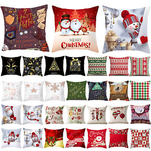 Pillow Case Throw Cushion Cover Santa Sofa Living Room Party Home Decoration New