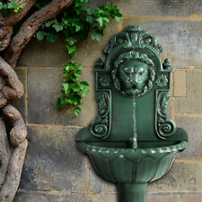 Wall Fountain Lion Head Indoor Outdoor Garden Decor Water Feature Sculpture