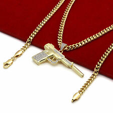 "Men's 14k Gold Plated Luxury High Fashion Hand Gun 3mm 30"" Cuban Chain Necklace"