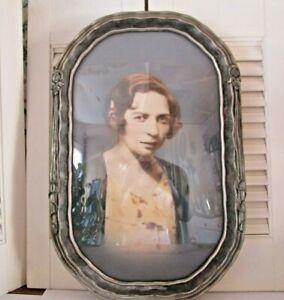Vintage Antique Convex Bubble Glass Ornate Silver Frame Women Portrait 18×12