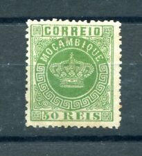 1876 MOZAMBIQUE CROWN TYPE 50R GREEN PERFORATION 12 1/2 LIGHTLY RETOUCHED NO GUM