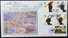 Buckingham 2001 Royal Ascot fabuleux Chapeaux FDC Signé Lester Piggot/Willie Carson