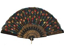 Black Slab Fabric Hand Fan with Peacock Pattern Sequin Style