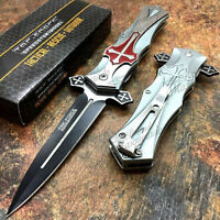 "Tac Force Collectors ""Crusader"" Red Cross Handle Spring Assisted Pocket Knife"