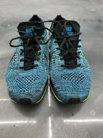 NIKE FLYKNIT Womans Size 5.5 RACER TRAINER BLUE LAGOON BLACK VOLT 526628-401