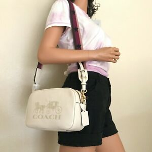 NWT Coach Jes Chalk White Leather Double Zip Messenger Crossbody Bag F75818