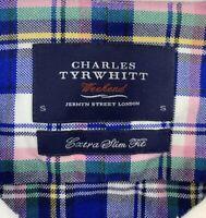 Charles Tyrwhitt Mens Blue Pink Plaid Woven Oxford Long Sleeve Shirt Size Small