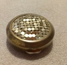 Vintage Stratton England Gold Tone Mesh Top Pill Box Compact