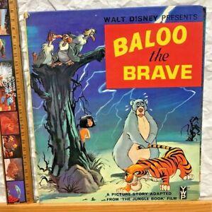 1968 DISNEY'S VINTAGE ORIGINAL JUNGLE BOOK BALOO THE BRAVE STORY PICTURE BOOK HC