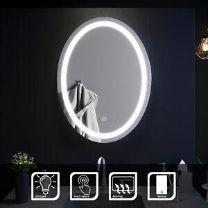 Oval LED ILLUMINATED Bathroom Mirror Make Up Light Smart Touch Control | PMMA