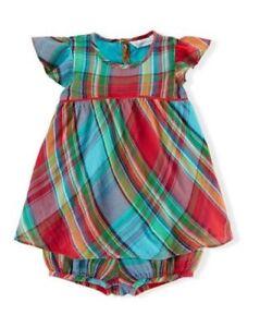 Ralph Lauren Baby Girl Gauze Plaid Set Dress Round Neckline Ruffle Sleeves