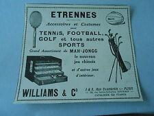 1926 Original Accessoires Costumes Sport Williams Tennis Foot Golf Print Pub AD