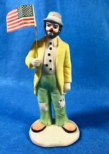 Flambro Emmett Kelly Jr. Hobo Clown Holding American Flag Tagged