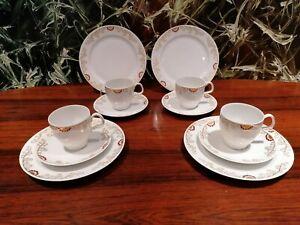 Classic Höchst Porzelllan Heinrich Kaffeegedeck 3 tlg Rosen Dekor