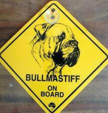 12cm Roadsign Schild mit Saugnapf BULLMASTIFF Warnschild Hund
