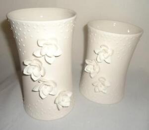 Silvestri Enchanted Evening White Wedding Porcelain Pillar Candle Holder Pair 2