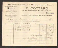 "NEVERS (58) USINE de FAIENCES / FAIENCERIE D'ART ""F. COTTARD"" en 1917"