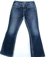 Silver Suki Surplus Womens Blue Back Flap Pockets Bootcut Denim Jeans Size 27