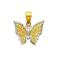 14K Solid Two Tone Gold Filigree Butterfly Charm Pendant