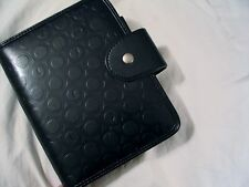 Franklin Covey Planner Organizer Black Magnetic  Circle Motif 6 Ring 7.5 x 6