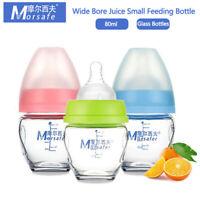 Baby Bottle Feeder 80ML Portable Infant Feeding Mini Glass Wide Caliber Bottle