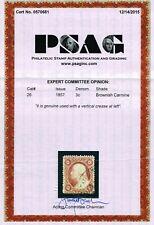 GENUINE SCOTT #26 USED 1857 TYPE-III BROWNISH CARMINE PSAG CERT - TOWN CANCEL