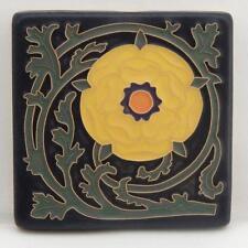 4x4 Arts & Crafts Tudor Rose Tile in Bright Yellow Arts & Craftsman Tileworks