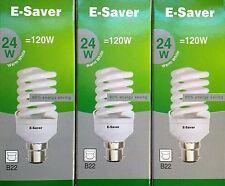 3x E-Saver, Energy Saving CFL Light Bulbs,, Spiral, 24w, Warm White, B22 Bayonet