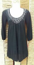 M&S AUTOGRAPH Ladies Black Sparkly Beaded 3/4 Sleeve Long Jumper Size 8