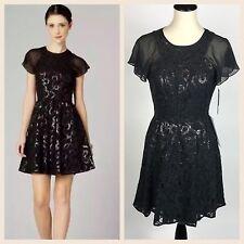 Andrew Marc Women's Size 4 Black Sequin Formal Dress NWT Flutter Sheer Sleeve