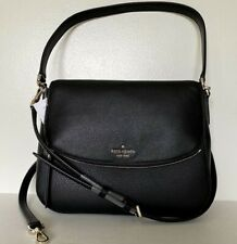 New Kate Spade Jackson Medium Flap Shoulder bag Leather handbag Black