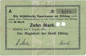 DEUTSCHES NOTGELD 1914-1915--- ELBING - 5 AUG 1914 --  10 MARK //825