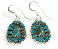 "925 STERLING CLUSTER MATRIX BLUE TURQUOISE  1 9/16"" x 11/16"" HOOK EARRINGS"