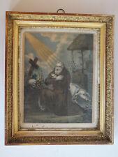 Alter vergoldeter Empire Rahmen aus Restauratoren-Nachlass - Litho hl. Antonius