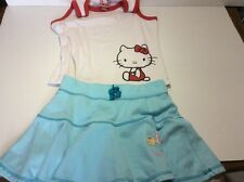 Hello Kitty Girls Outfit. Size L Large Red, White, & Blue Tank Top Skirt
