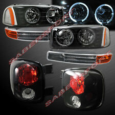 99-04 GMC SIERRA STEPSIDE DUAL HALO HEADLIGHTS w/ LED + BUMPER + TAIL LIGHTS SET