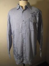 Michael Brandon LS Shirt NEW with Tags Blue Striped Embroidered Cotton Size 2XL